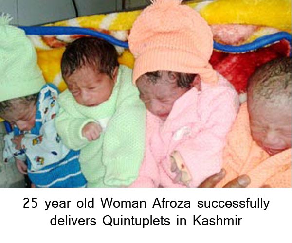 25 year old Woman successfully delivers Quintuplets in Kashmir
